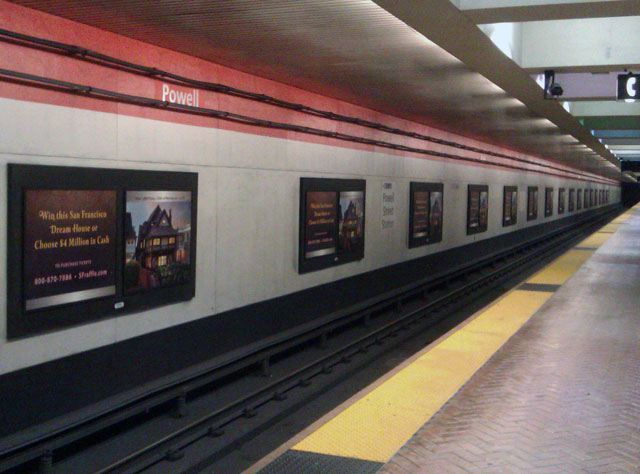Dream House advertisements at Powell Street Station, San Francisco, April 2013